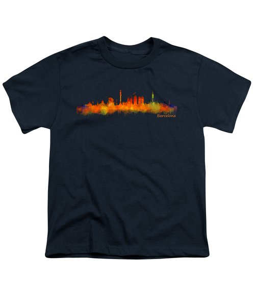 Barcelona City Skyline Hq V2 Youth T-Shirt by HQ Photo