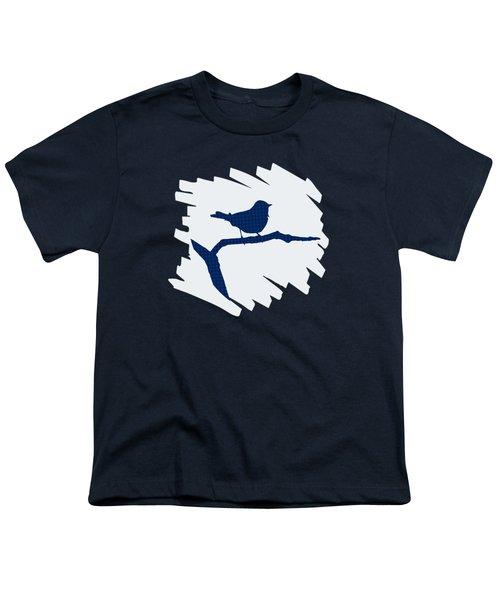 Blue Bird Silhouette Modern Bird Art Youth T-Shirt by Christina Rollo