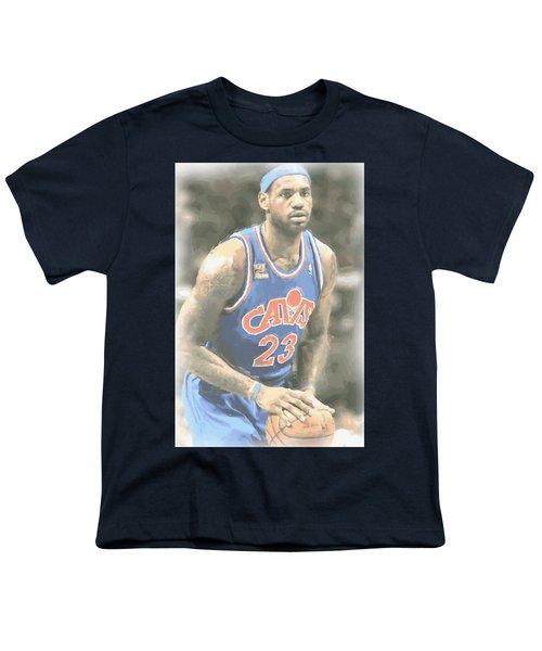 Cleveland Cavaliers Lebron James 1 Youth T-Shirt by Joe Hamilton