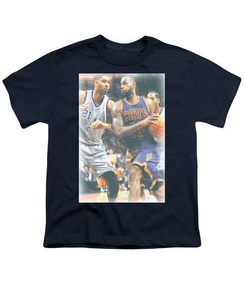 Cleveland Cavaliers Lebron James 4 Youth T-Shirt by Joe Hamilton