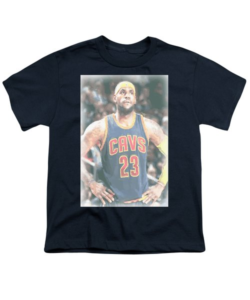Cleveland Cavaliers Lebron James 5 Youth T-Shirt by Joe Hamilton