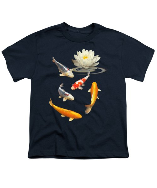 Colorful Koi With Water Lily Youth T-Shirt by Gill Billington