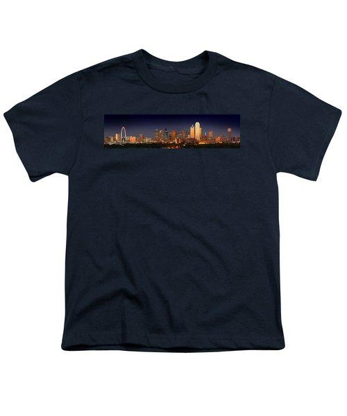 Dallas Skyline At Dusk  Youth T-Shirt by Jon Holiday