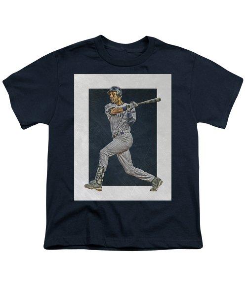 Derek Jeter New York Yankees Art 2 Youth T-Shirt by Joe Hamilton