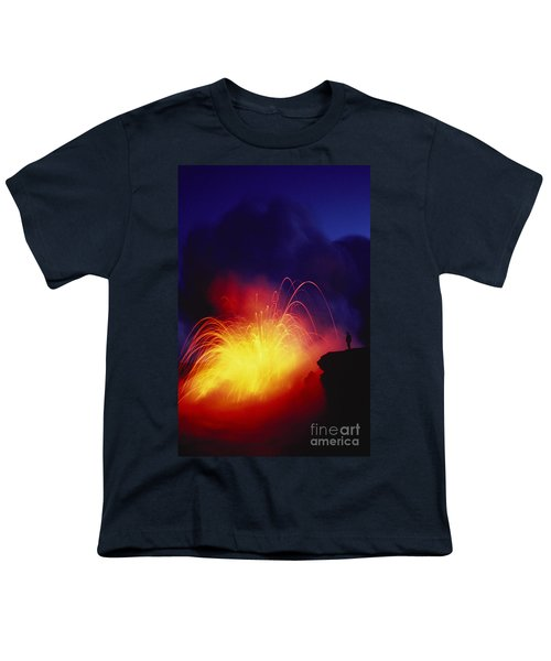 Exploding Lava And Person Youth T-Shirt by Greg Vaughn - Printscapes