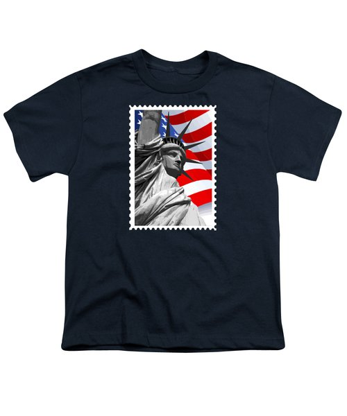 Graphic Statue Of Liberty With American Flag Youth T-Shirt by Elaine Plesser