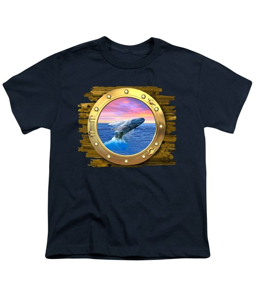 Humpback Whale Breaching At Sunset Youth T-Shirt by Glenn Holbrook