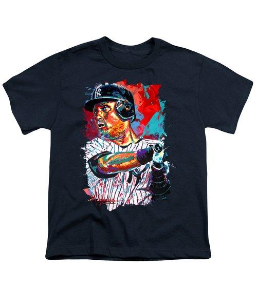 Jeter At Bat Youth T-Shirt by Maria Arango