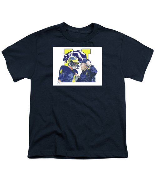 Jim Harbaugh And Bo Schembechler Youth T-Shirt by Chris Brown