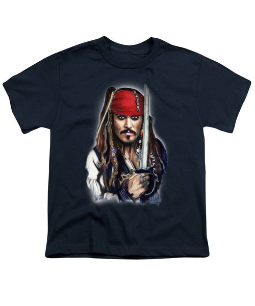 Johnny Depp As Jack Sparrow Youth T-Shirt by Melanie D