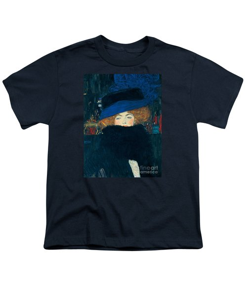 Lady With A Hat And A Feather Boa Youth T-Shirt by Gustav Klimt
