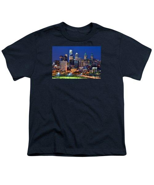 Philadelphia Skyline At Night Youth T-Shirt by Jon Holiday