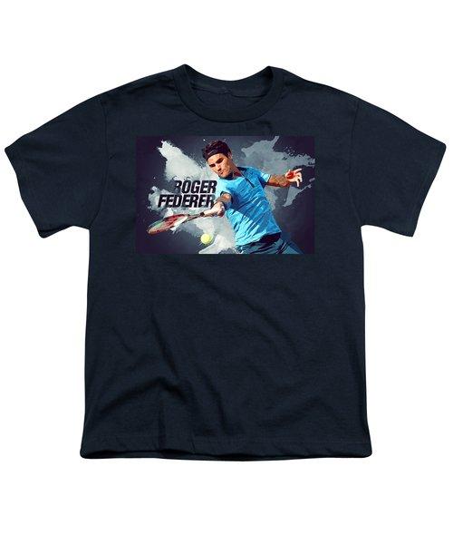 Roger Federer Youth T-Shirt by Semih Yurdabak