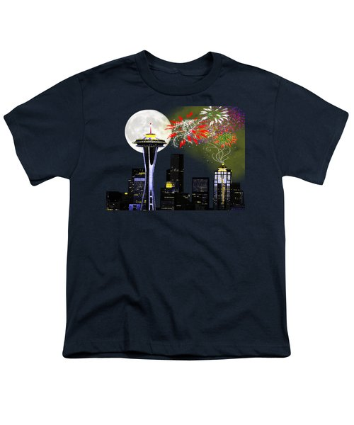 Seattle Skyline Youth T-Shirt by Methune Hively