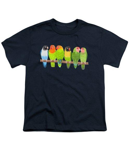 Six Lovebirds Youth T-Shirt by Rita Palmer