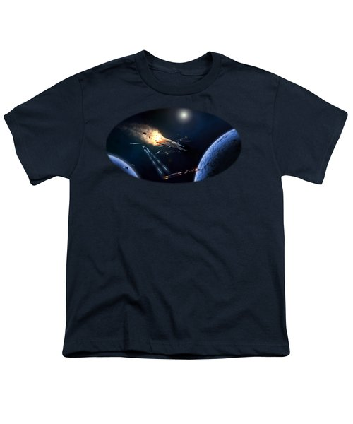 Space Battle I Youth T-Shirt by Carlos M R Alves