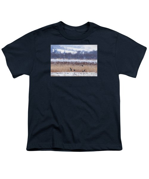 Winter Lapwings Youth T-Shirt by Liz Leyden