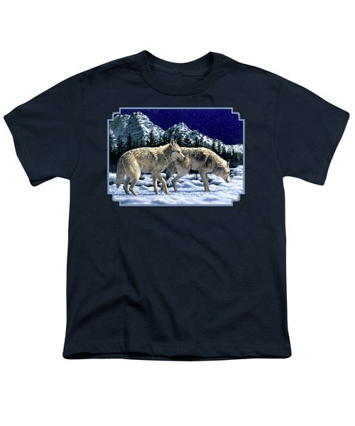 Wolves - Unfamiliar Territory Youth T-Shirt by Crista Forest