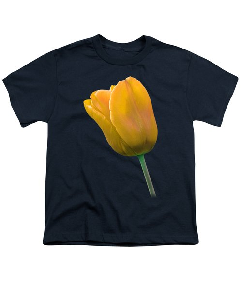 Yellow Tulip On Black Youth T-Shirt by Gill Billington