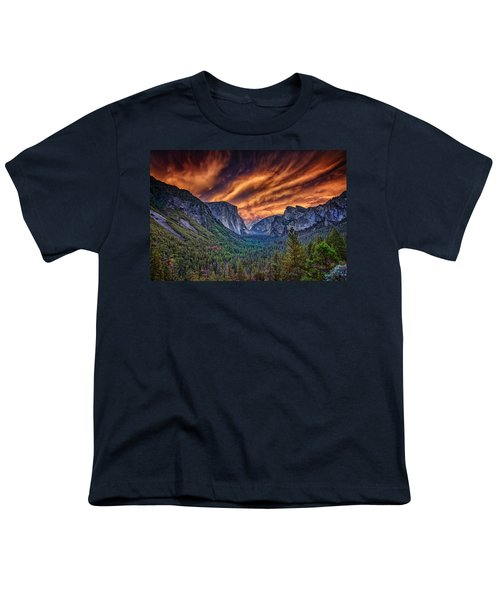 Yosemite Fire Youth T-Shirt by Rick Berk
