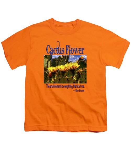 Prickly Pear Cactus Flowers Youth T-Shirt by Roger Passman