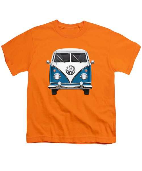 Volkswagen Type 2 - Blue And White Volkswagen T 1 Samba Bus Over Orange Canvas  Youth T-Shirt by Serge Averbukh