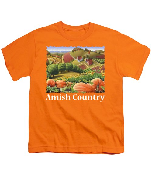 Amish Country T Shirt - Appalachian Pumpkin Patch Country Farm Landscape 2 Youth T-Shirt by Walt Curlee