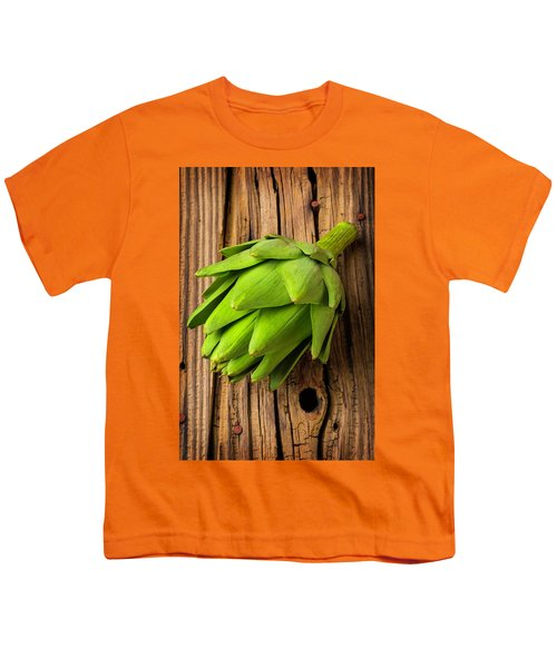 Artichoke On Old Wooden Board Youth T-Shirt by Garry Gay
