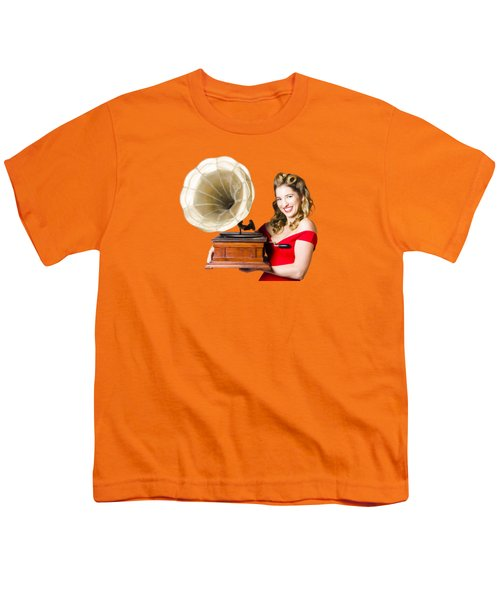 Beautiful Woman With Gramophone Isolated On White Youth T-Shirt by Jorgo Photography - Wall Art Gallery