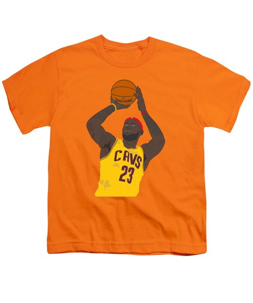 Cleveland Cavaliers - Lebron James - 2014 Youth T-Shirt by Troy Arthur Graphics