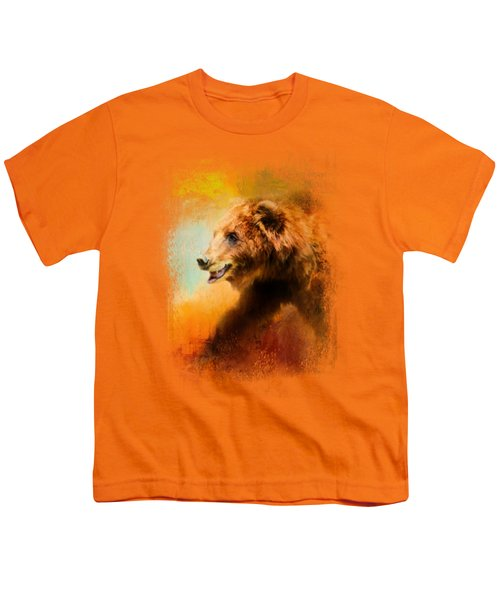 Colorful Expressions Grizzly Bear Youth T-Shirt by Jai Johnson