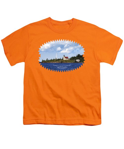 Copper Harbor Lighthouse Youth T-Shirt by Christina Rollo