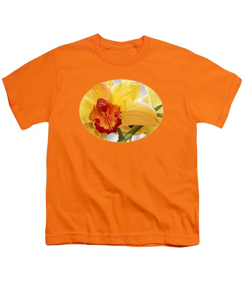 Golden Cymbidium Orchid Youth T-Shirt by Gill Billington