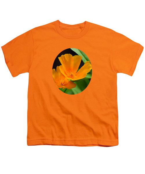 Orange California Poppies Youth T-Shirt by Christina Rollo