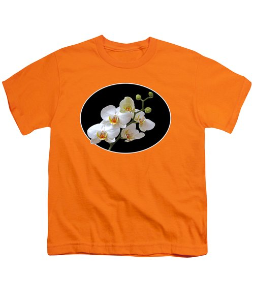 Orchids On Black And Orange Youth T-Shirt by Gill Billington
