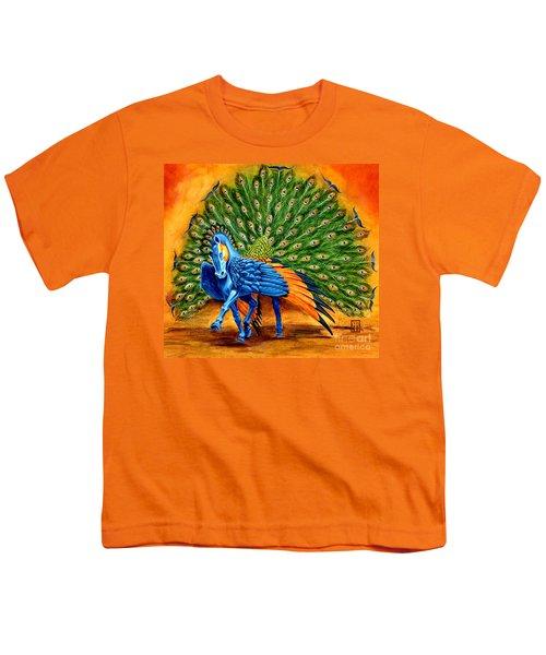Peacock Pegasus Youth T-Shirt by Melissa A Benson