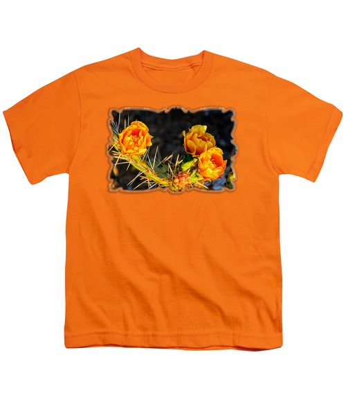 Prickly Pear Flowers Op49 Youth T-Shirt by Mark Myhaver