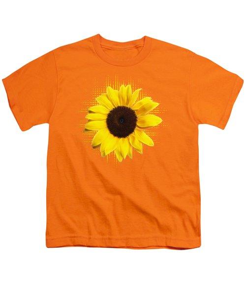 Sunflower Sunburst Youth T-Shirt by Gill Billington