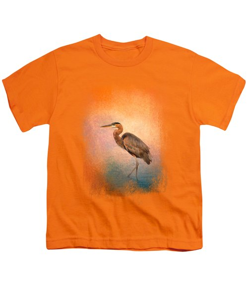 Sunset Heron Youth T-Shirt by Jai Johnson