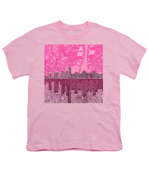 Miami Skyline Abstract 4 Youth T-Shirt by Bekim Art