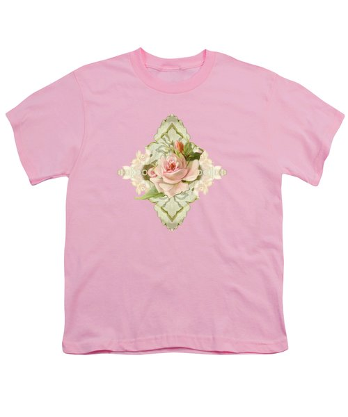 Summer At The Cottage - Vintage Style Damask Roses Youth T-Shirt by Audrey Jeanne Roberts