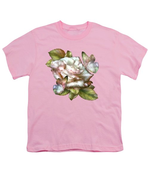 Antique Rose And Butterflies Youth T-Shirt by Carol Cavalaris