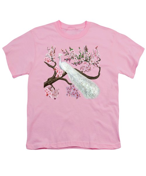 Cherry Blossom Peacock Youth T-Shirt by Glenn Holbrook