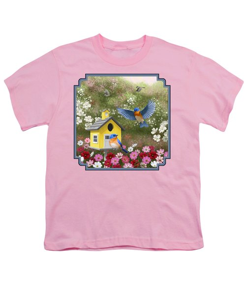 Bluebirds And Yellow Birdhouse Youth T-Shirt by Crista Forest