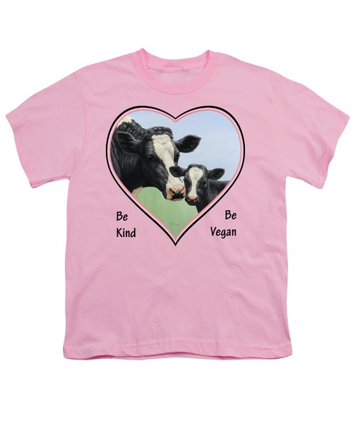 Holstein Cow And Calf Pink Heart Vegan Youth T-Shirt by Crista Forest