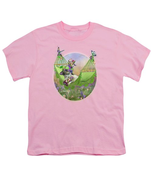 Cat In Calla Lily Hat Youth T-Shirt by Carol Cavalaris