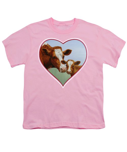 Cow And Calf Pink Heart Youth T-Shirt by Crista Forest