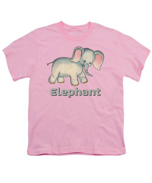 Cute Baby Elephant Pattern Vintage Illustration For Children Youth T-Shirt by Tina Lavoie