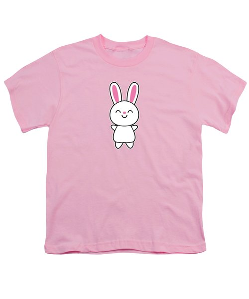 Funny Cute Rabbit Bunny In Pink Youth T-Shirt by Philipp Rietz
