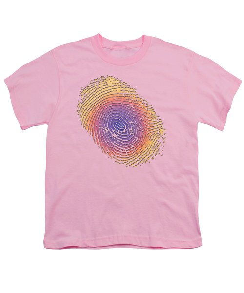 Giant Iridescent Fingerprint On Salmon Roe Pink Set Of 4 - 2 Of 4 Youth T-Shirt by Serge Averbukh